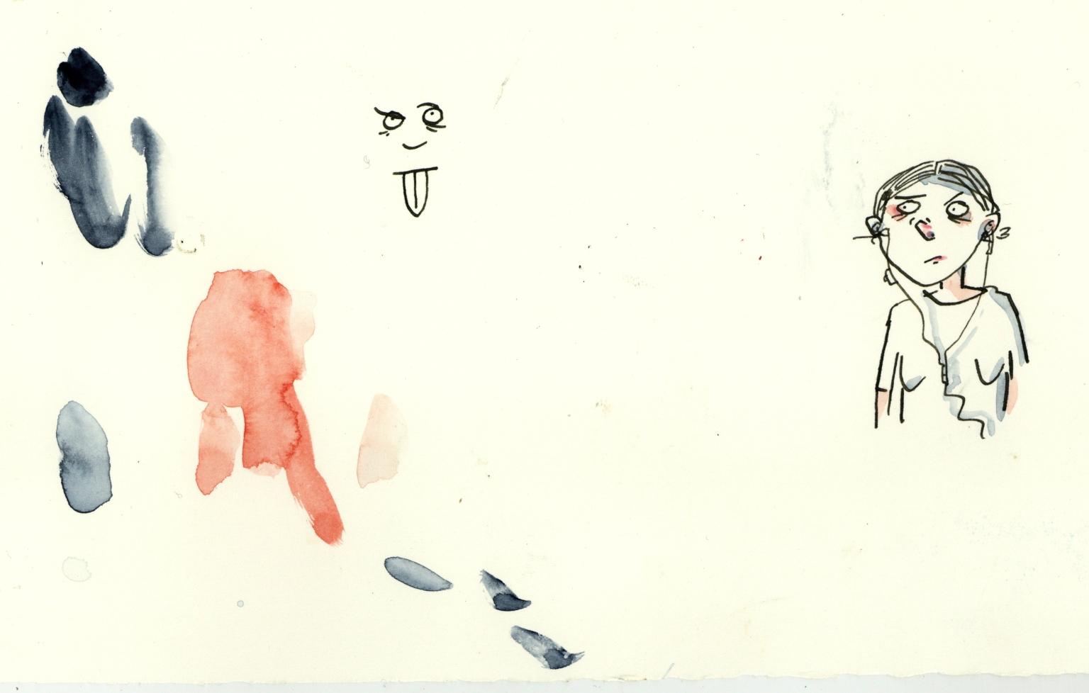 selbstdarstellendes Portrait meines momentanen Ich-Zustands. Mit Flecken.